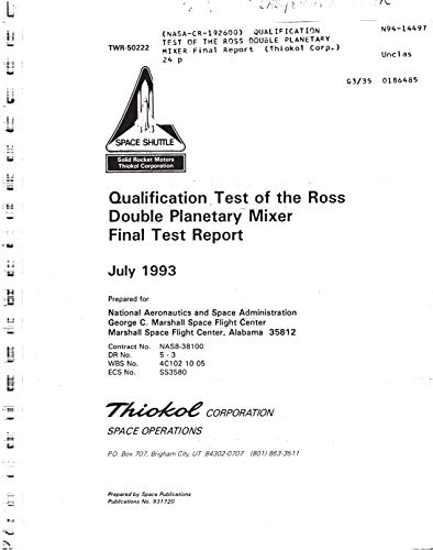 Qualification test of the Ross Double Planetary Mixer (English Edition)