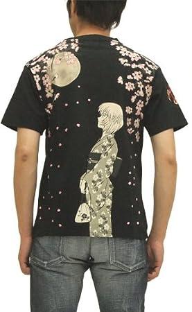 エヴァンゲリオン Tシャツ 綾波レイと桜吹雪 EVANGELION x 錦 メンズ 半袖tee EV32488 黒