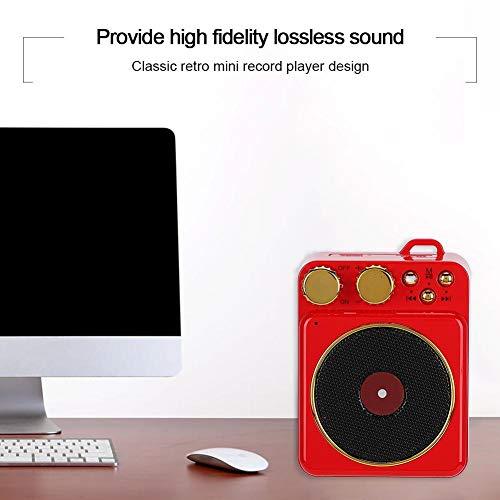 DC 3,7 V Retro Bluetooth 5,0 Lautsprecher, Bluetooth Lautsprecher Smart Audio Unterstützung Freisprechen/FM Radio/USB/TF Karte, klassische Retro Mini Multifunktions-Lautsprecher, Geschenk(Rot)