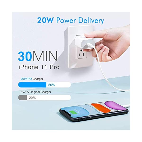 TRUEUPGRADE 20W USB-C Power Adapter Fast Charger Compatible for iPhone 12, iPhone 12 Pro, iPhone 12 Pro Max, iPhone 11… 3 41M5OB+55LL