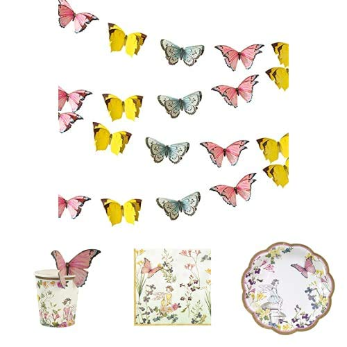 Talking Tables Fairy Party Decorations and Tableware - Bunting , Paper Cups , Paper Napkins and Plates