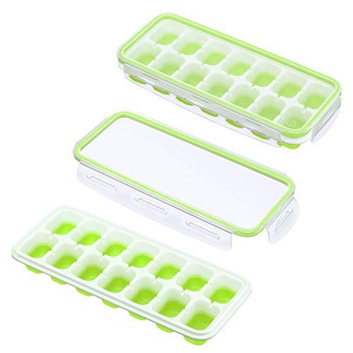 IKICH Eiswürfelform Silikon Eiswürfelbehälter mit Deckel Klickverschluss mit Silikondichtung Luftdicht & Wasserdicht LFGB FDA BPA Frei Ice Cube Tray Stapelbar Eiswürfelschalen Eiswürfel Babynahrung