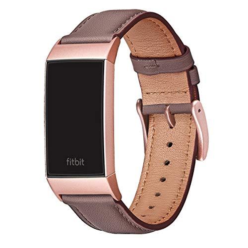 FENGLIN Armband Kompatibel mit Fitbit Charge 3 Armband/Charge 4 Armband Leder, Klassisches Verstellbares Ersatzarmband für Damen, Herren (S,Mauve/Rosegold)