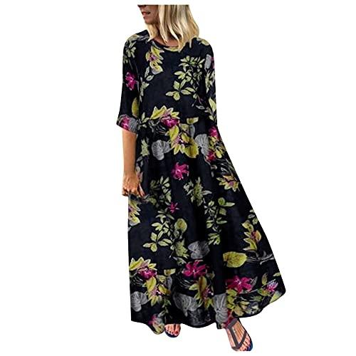 Generic Robe Longue Femme De Boheme Manche Courte Chic Maxi Robe Été Femme Grande Taille Robe De Plage Casual Robe de Soiree Robe de Cocktail