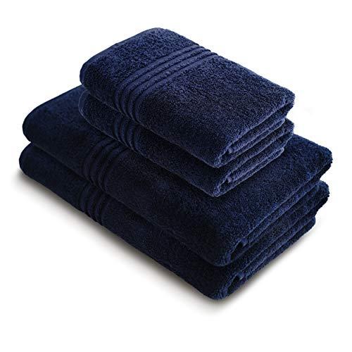 Blau Handtücher Set Badetücher Set 4-teilig - 2 große Badetücher 70 x 150 cm, 2 große Handtücher 50 x 100 cm, aus türkischer Baumwolle Handtuch Set Qualität wie im Luxushotel Bad Spa Sauna