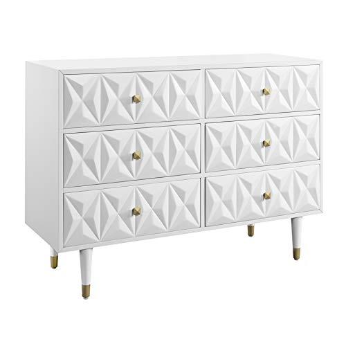 Linon Home Décor Sheerah Six Drawer Geo Texture White Dresser, Gold