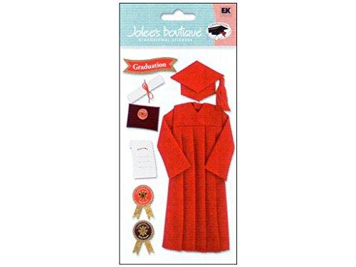 Di Jolee Boutique Le Grande graduazione dimensionale Sticker-laurea Cap & Gown/rosso