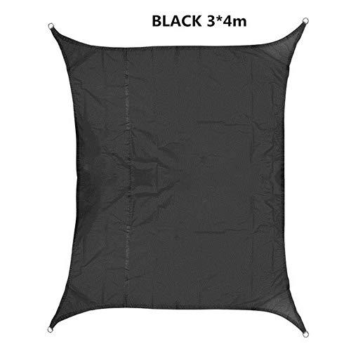 YLA Impermeable Sun Shelter Protección para sombrillas Jardín Patio Piscina Sombra Vela Toldo Camping Picnic Carpa, 3x4m Negro
