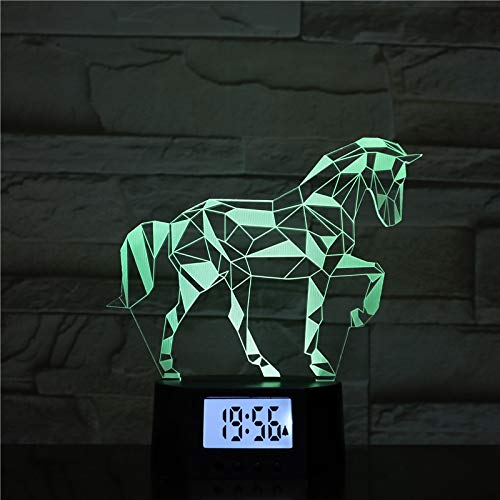 Optische Illusion 3d Lampe Nacht Lampe Wecker Pferd Basis 7 Farben Ändern 3d Led Tischleuchte Für Schlafzimmer Schlaflampe Home Decor Art Decor Kinder Touch Button