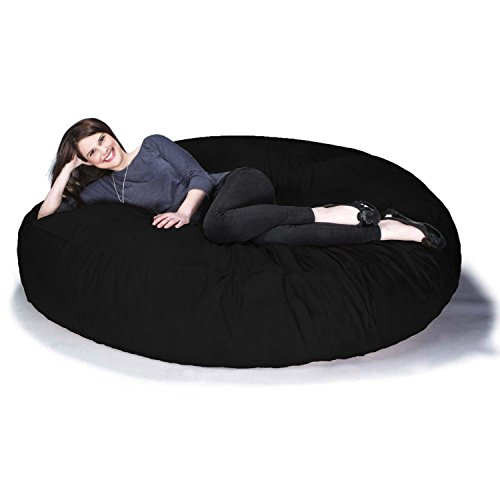 Jaxx 6 Foot Cocoon Large Bean Bag Chairs for Adults, Black