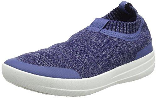 FitFlop Womens Uberknit Slip On Sneaker Shoes, Indian Blue/Powder Blue, US 11