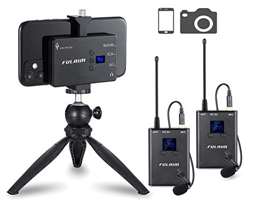 FULAIM MX12 UHF Wireless Lavalier Lapel Microphone System for iPhone Android Smartphone DSLR Cameras Professional Video Recording(Upgraded 20-Channels, 2TX+1RX)