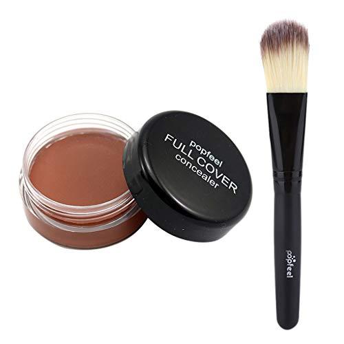 Homyl Correcteur de Maquillage à Visage pour la Couverture des Cercles Noirs Cache de Tâches - Crème Concealer et Pinceau à Fond de Teint - ré
