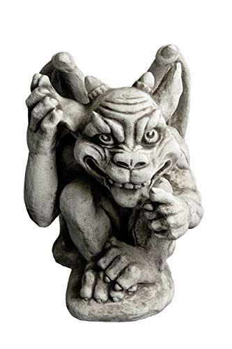gartendekoparadies.de Großer, lustiger Gargoyle der Wahnsinnige Torwächter aus Steinguss, frostfest