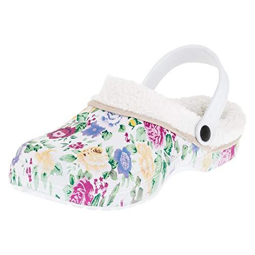 2Surf Gefütterte Damen Clogs Winter Schuhe Pantoffel warmes Futter mit tollem Muster M478wsbu Weiß Blume Bunt 39 EU