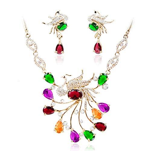 Yddxy Pendiente del Collar Pendiente del Pavo Real del Rhinestone Mujer Circonio Cúbico De Aleación De Moda Conjunto De Joyas (Pendiente + Collar),E