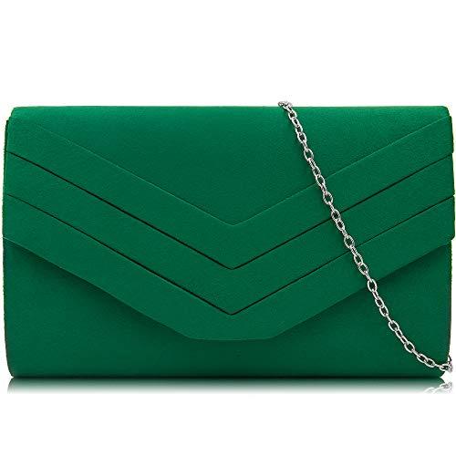 Milisente Evening Bag for Women, Suede Envelope Evening Purses Crossbody Shoulder Clutch Bag (Green)