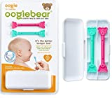 oogiebear Two Pack - Patented Nose and Ear Gadget. Safe, Easy Nasal Booger and Ear Cleaner for Newborns and Infants. Dual Ear Wax and Snot Remover. Aspirator Alternative - Raspberry Seafoam with case