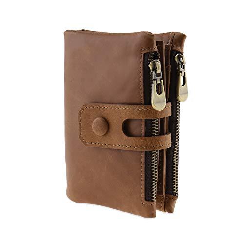 YINETTECH RFID Blokkeren Echt Lederen Bifold Card Portemonnee Mens Womens Veiligheid Munt portemonnee SIM SD Memory Card Houder Vintage Zacht Bruin