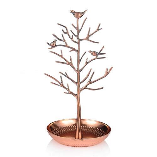Organizador de árbol de joyería, soporte de aleación para aretes, collares, anillos, latón envejecido