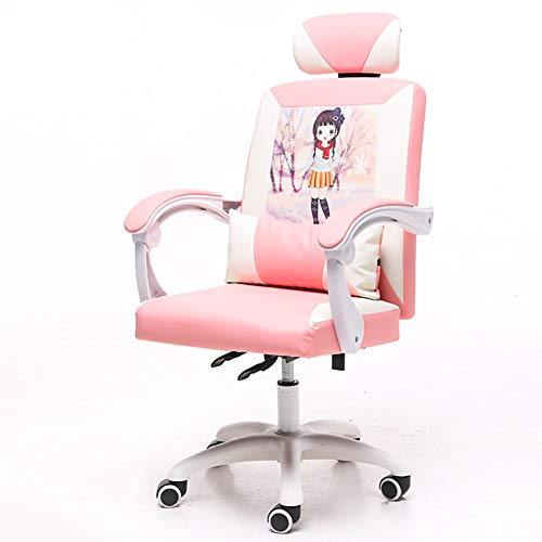 CWW Silla Gaming Profesional inclinación y Altura Regulable reposabrazos Silla de Juego Ajustables reclinable 160º Rosa