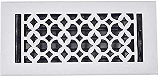 Floor Register 4x10, Cast Iron Floor Vent with Metal Damper Black – Floor Registers for Home Décor, Heavy Duty, Hand Crafted, Sand Casted Home Decorative Hardware, Powder Coated Matte Flat – White