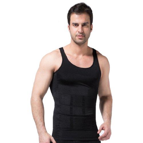 ZEROBODYS figurformendes ärmelloses Herren-T-Shirt SS-M01 (XXL, schwarz)