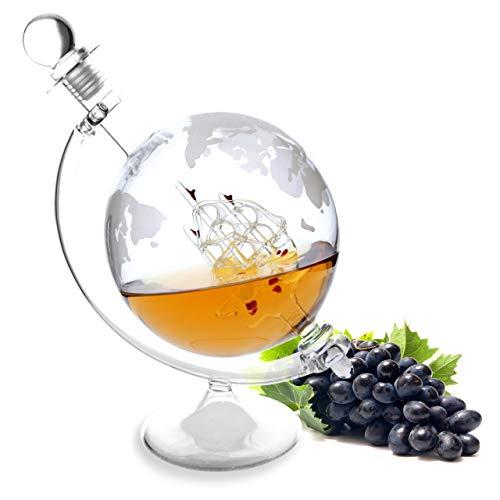 Lantelme Karaffe Glas mit Ständer für 1000ml Inhalt mit eingraviertem Globus und Schiff Dekanter 7313