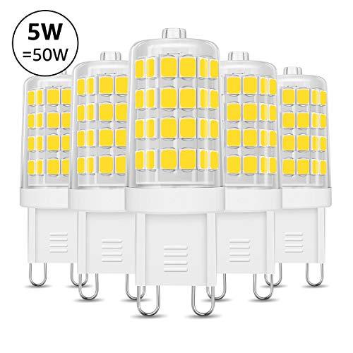 LE Lampadina LED G9 5W 340lm, 5W Pari a Lampada Alogena da 50W, Luce Bianca Diurna 6000K, Confezione da 5 pezzi.