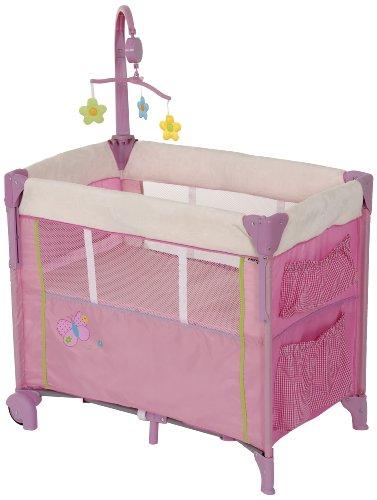 Hauck Dream 'n Care Center Babybett, Side by Side Sleeper mit Drop Down Seite, erhöhter Boden und zur Aufbewahrung unter dem Bett, Schmetterling, pink