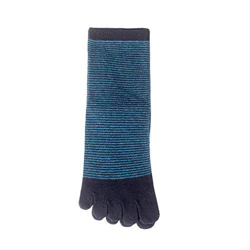 HYZ Männer 100% Baumwolle Rohr Fünf-Finger-Socken Sweat-saugfähig Zehe-Großhandel Männer Casual Mode-Streifen 6 Pack (Farbe : Grün)