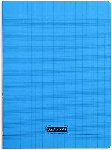 Calligraphe 18192C - Un cahier piqué (gamme 8000 de Clairefontaine) 96 pages 24x32 cm 90g grands carreaux, couverture polypro (plastique), Bleu
