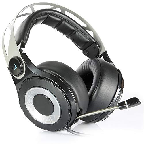 QNSQ Casque d'écoute Filaire Esports Gaming, Casque à Son Surround 7.1 canaux monté sur la tête, lumières de Respiration à Del colorées, télécommande pour Microphone Multifonction-Black