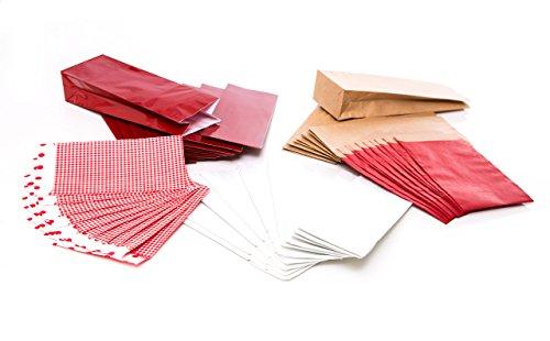 Logbuch-Verlag 50 Papiertüten SET rot braun Kraftpapier kariert Weihnachten Kekstüten Gebäck Tüten Papierbeutel Verpackung klein