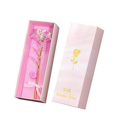ISAKEN Coloridas flores artificiales de rosa regalo para mujeres, rosa galaxia de oro de 24 quilates, regalo único para el día de San Valentín, día de la madre, día de Acción de Gracias, cumpleaños