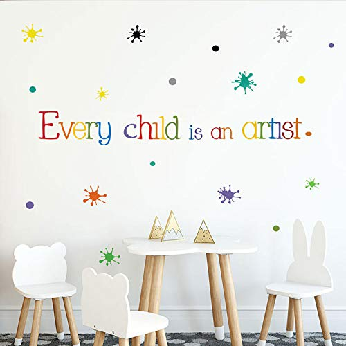 Orange Can Every Child is an Artist Wall Decals for Kids Art Classroom Decor-Crayon Paint Splash with Children Artist Quotes Wall Stickers for Infant Daycare Preschool Playroom