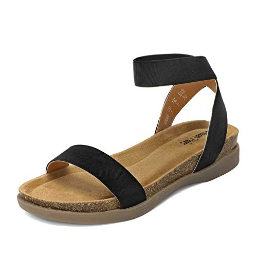 DREAM PAIRS Women's Black Open Toe One Band Elastic Strap Flat Sandals Size 9 M US Kimmie