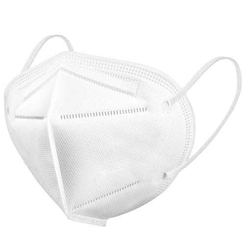 KN95 Face Mask 50 Pack, WWDOLL KN95 Masks 5-Layer Breathable Cup Dust Mask with Elastic Earloop and Nose Bridge Clip, Protection Against PM2.5 Dust, Air Pollution White