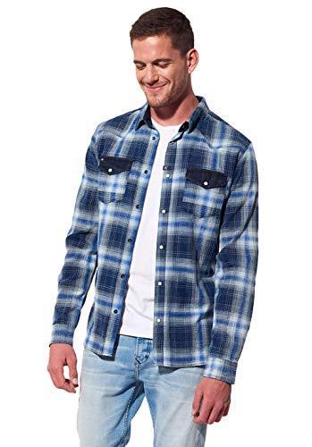 Kaporal - Chemise à Carreaux Slim Homme en 100% Coton - Kite - Homme - 2XL - Bleu