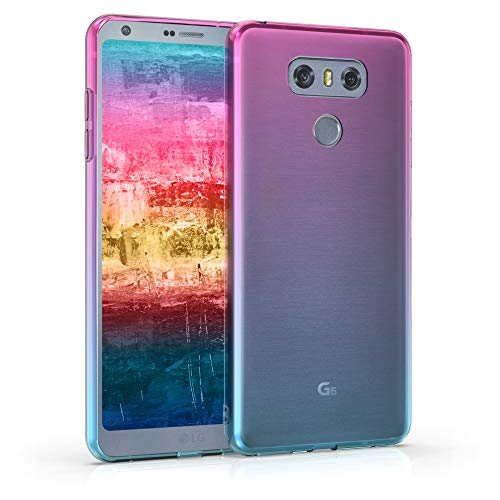 kwmobile Funda Protectora Compatible con LG G6 - Carcasa Bicolor Rosa Fucsia/Azul/Transparente