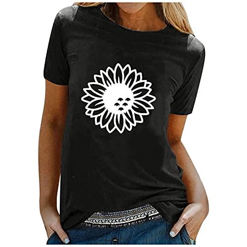 LalalukaTShirtDamenBluse Sonnenblume Druck Lassige Große Größe Oberteil BluseSommer FrauenTshirt T-ShirtBlusenTunikaTopBluseshirtT-ShirtHemdLongshirtKurzarmshirt