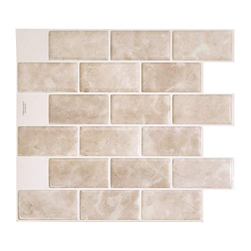 Smart Tiles Self Adhesive Wall Tiles - Subway Sora - 4 Sheets of 10.95' x 9.70' (27.81 cm x 24.64 cm) Kitchen and Bathroom Stick on Tiles - 3D Peel and Stick Backsplash