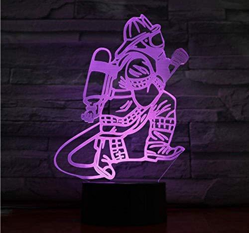 Luz De Noche Bomberos 7 Luces De Colores Luz De Noche Led 3D Interruptor Táctil Para Niños Lámpara De Mesa Usb Luz De Sueño Para Bebés