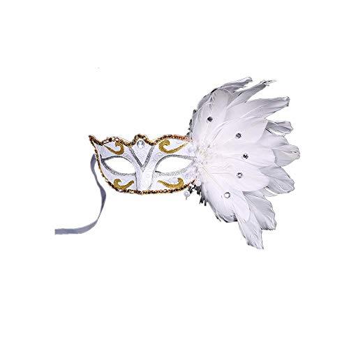 Fellibay Mscara de disfraz de plumas Mscara de Halloween Mardi Gras Cosplay Party Mask para nias mujeres (blanco)