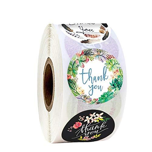 「Thank you」ありがとう シール ラッピング ラベル ステッカー ギフトシール クリスマスギフト ステッカー ビッグサイズ 円型 手作りシール 可愛い 業務用 感?の日 500枚 (3.8CM D)