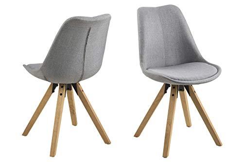 Eine Marke von Amazon - Movian Arendsee - Set aus 2 Esszimmerstühlen, 55 x 48,5 x 85 cm, Hellgrau/ölbehandelte Beine