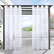 LIFONDER White Sheers Outdoor Curtains - 2 Packs Grommet Indoor Outdoor Drapes for Patio Waterproof Privacy Sheer Drapes Panels for Porch/Deck/Pergola with 2 Tiebacks, W54 x L84 Inches
