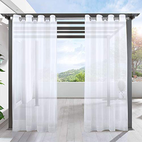 LIFONDER White Sheer Outdoor Curtains - Indoor Outdoor Grommet Waterproof Sheer Patio Drapes Pergola Shades Porch Curtains for Deck / Gazebo / Cabana, 54 Inch Width by 84 Inch Length, 1 Pack