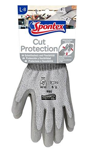 Spontex Cut Protection Arbeitshandschuhe mit hohem Schnittschutz, nach EN 388, aus nahtlosem PEHD-Gewebe, Größe L, 1 Paar