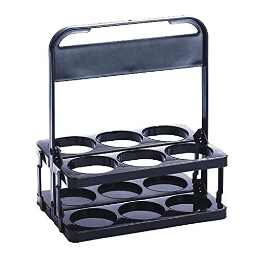 TGUS 6 estantes para botellas se pueden plegar, cesta de plástico para vino con mango, estante para botellas de leche, utilizado para fiestas KTV para transportar cerveza, vino, café (Negro)